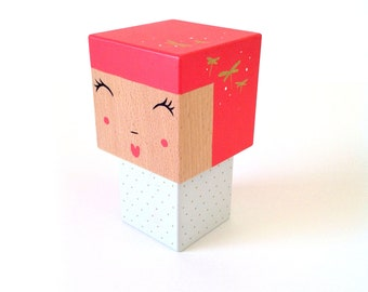 Cubic Kokeshi figurine pink + white polka dots and Golden - dragonflies size M