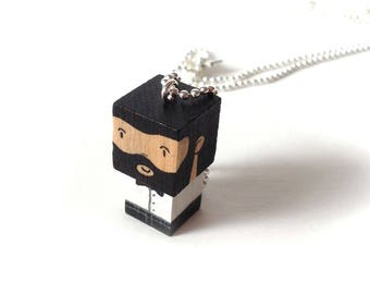 "Chain cubic figurine ""Bearded man chic"" black and white Bead Necklace"