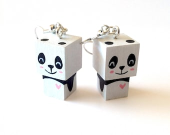 "Earrings Wooden Dolls ""Panda"" - Hand-made"