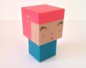 Cubic Kokeshi figurine pink + turquoise dark dots and Golden dragonflies - size M