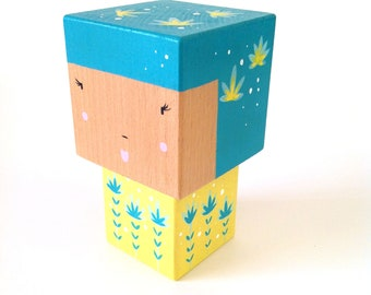 Yellow + turquoise cubic Kokeshi figurine dark - size M