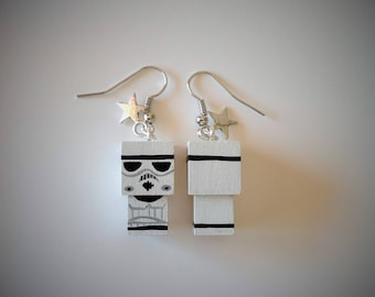 "Earrings Wooden Dolls ""Stormtrooper""- Hand-made"