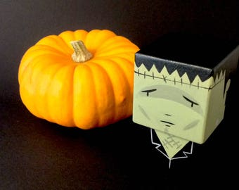 "Decorative cube ""Creature of Frankenstein"" wooden cutout"