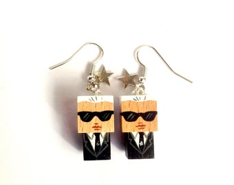 "Earrings Wooden Dolls ""Karl""- Hand-made"