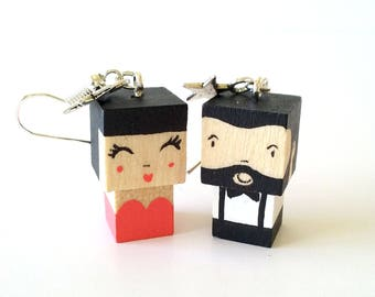 "Earrings Wooden Dolls ""lovers"" - Hand-made"