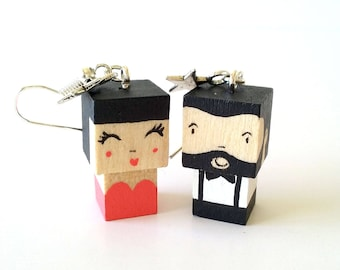 "Earrings Wooden Dolls ""Couple"" - Hand-made"