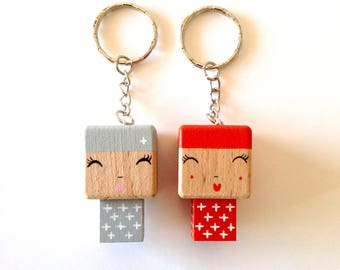 Cubic Key ring wooden dolls
