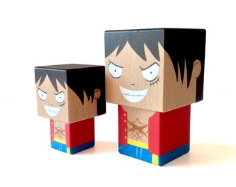 """Cubic wooden figurine """"Luffy"""" One piece - Hand painted"""