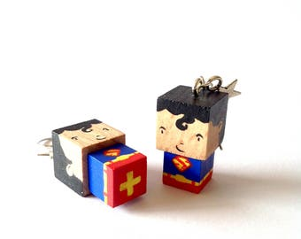 """Earrings cubic wodoen figurine """"Superman"""""""