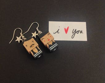 "Earrings Cubic wooden figurine ""lovers"""
