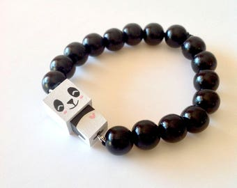 "Lacquered wood pearls bracelet ""Panda"""