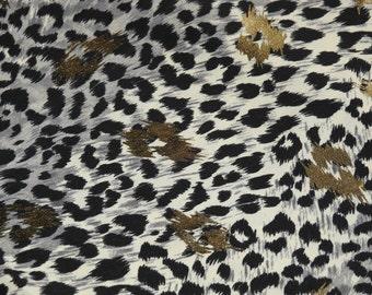 2 Yards ~Free Shipping!~ Silky Luxurious ~Leopard Jaguar Cheetah~ Animal Print w/ Gold Fabric