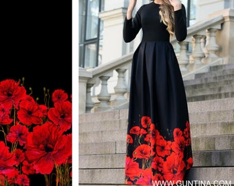 Formal Dress, Women Dress, Maxi Dress, Plus Size Maxi Dress, Floral Dress, Long Sleeved Dress, Black Dress, Ball Gown, Elegant Dress