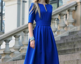 Blue Dress, Evening Dress, Plus Size Maxi Dress, Blue Long Dress, Long Winter Dress, Short Sleeve Dress, Boho Dress, Oversized Dress