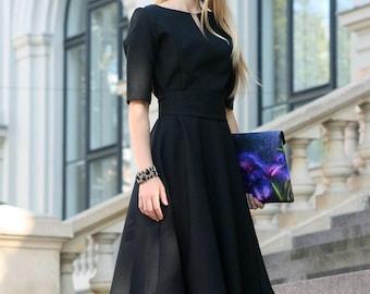 Black Dress, Black Fall Dress, Cocktail Black Dress, Black Formal Dress, Elegant Black Dress, Ball Dress, Knee Length Dress, Fall Dress
