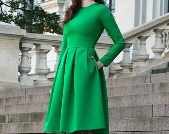 9dff72405790 Cocktail Dress, Long Sleeve Dress, Going Green Dress, Women Midi Dress,  Flared Dress, Classic Green Dress, Knee Length Dress,St Patricks Day