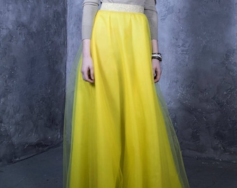 Yellow Skirt, Yellow Tulle Skirt, Yellow Maxi Skirt, Yellow Long Skirt, Women Yellow Skirt, High Waist Skirt, Bohemian Clothing, Loose Skirt