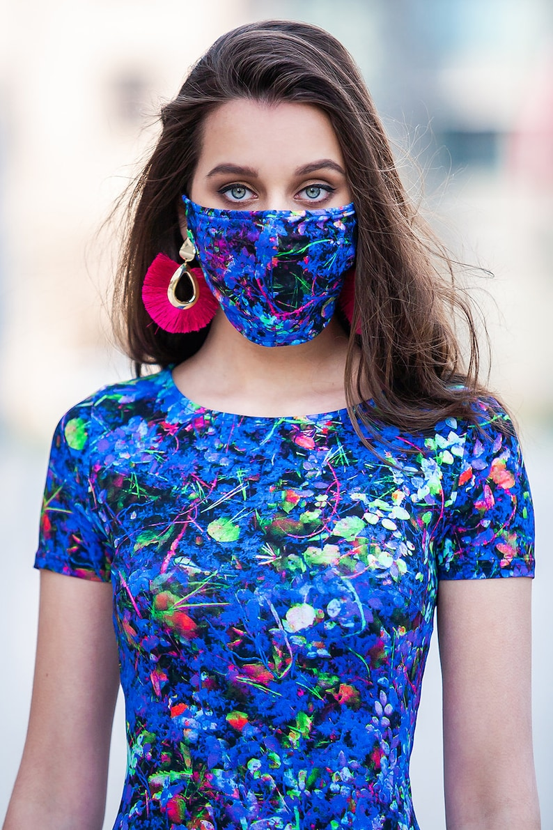 Matching Dress Outfit Matching Mask With Dress Guntina Blue Outfit Summer Outfit Plus Size Clothing Mask Outfit Women Dress With Mask