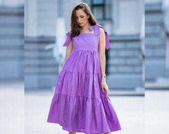 Summer cotton dress, Midi cotton dress, Organic Cotton Dress, Purple Dress for Women, Women Dress, Sustainable dress, Plus Size dress