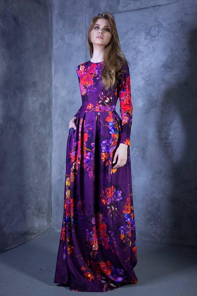 Maxi Dress Plus Size Maxi Dress Women Dress Purple Flower Etsy