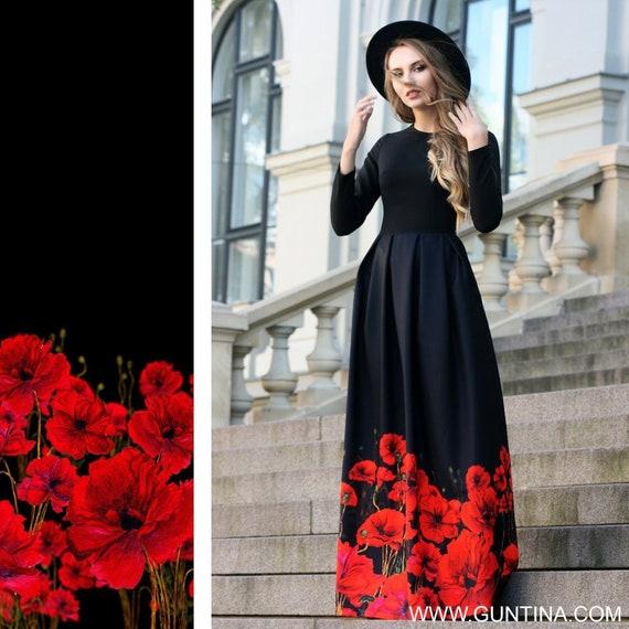Formal Dress, Women Dress, Maxi Dress, Plus Size Maxi Dress, Floral Dress,  Long Sleeved Dress, Black Dress, Ball Gown, Elegant Dress