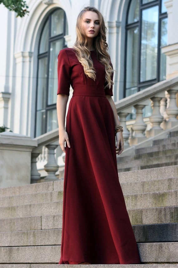 Winter Dress, Plus Size Maxi Dress, Bridesmaid Dress, Burgundy Dress, Rust,  Women Dress, Oversized Dress, Fashion Dress, Red Dress, Ball