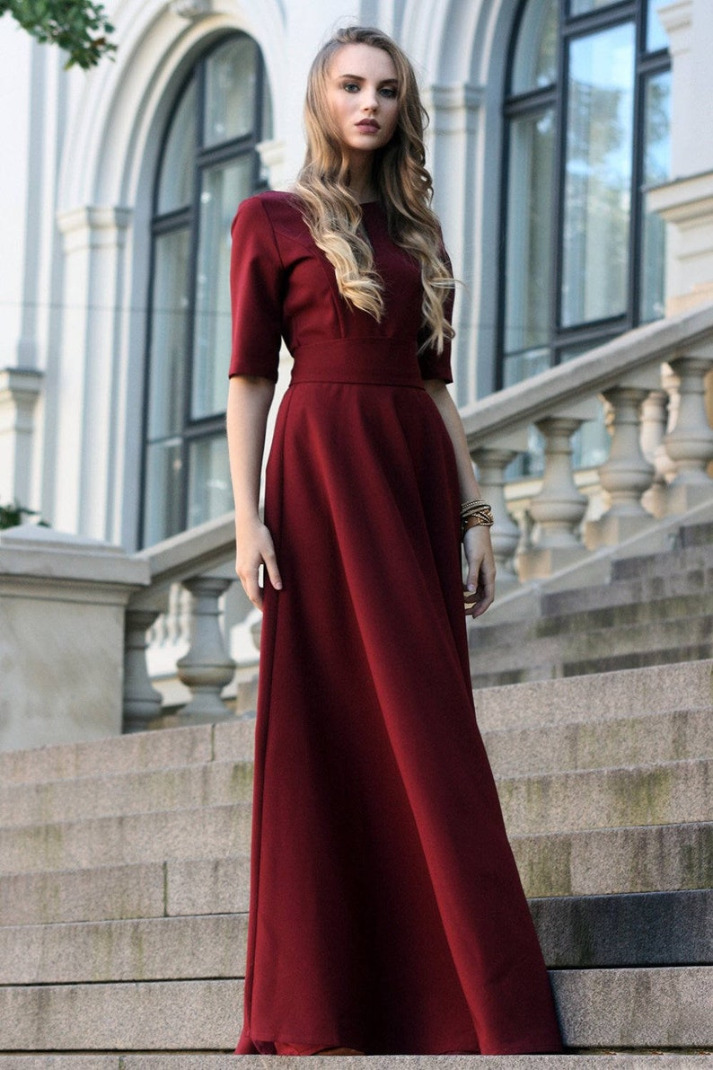 Winter Dress Plus Size Maxi Dress Bridesmaid Dress Burgundy | Etsy