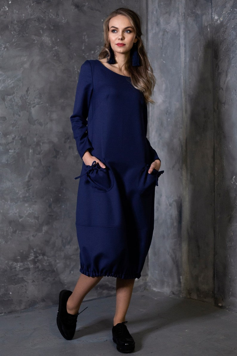 Wool Dress Women Dress Plus Size Clothing Navy Dress | Etsy