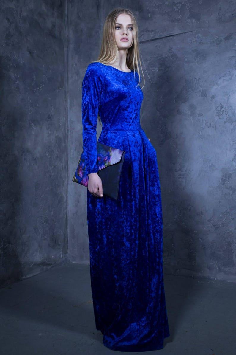 quality design 2853d a77d3 Samt-Kleid, Kleid, Frauen Kleid, blaues Kleid, bodenlanges Kleid, lange  Ärmel Kleid, langes Kleid, Plus Size Kleid Boho Kleidung