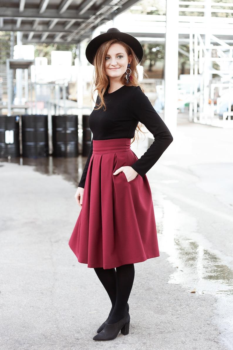 Midi Skirt High Waisted Skirt Bohemian Clothing Swing image 1