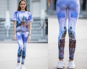 Painted Leggings, Elegant legging, High waisted leggings, Women Leggings, Loungewear, Leggings plus size, Ladies leggings, Sport leggings