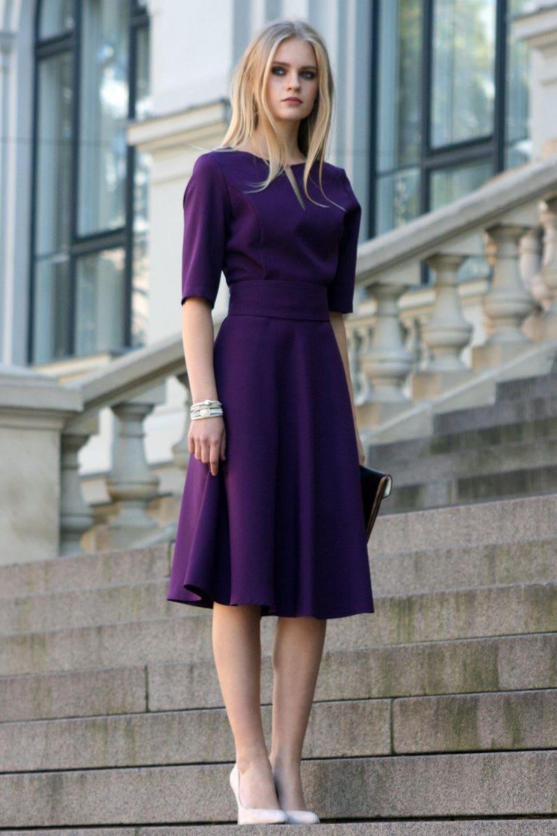Purple Dress, Purple Bridesmaid Dress, Purple Women Clothing, Purple, Plus  Size Clothing, Knee Length Dress, Short Sleeve Dress