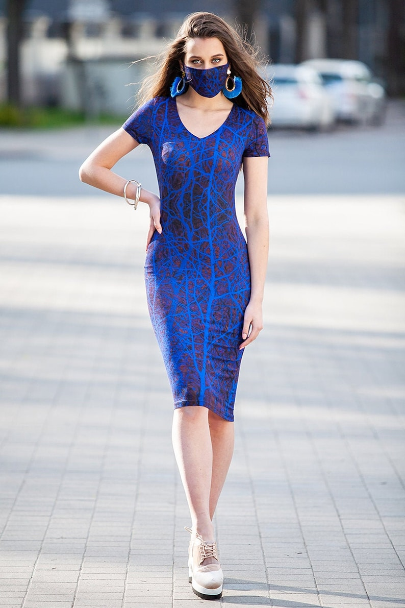 Women Outfit Blue Dress With Mask Summer Set Matching Dress With Mask Matching Mask Matching Set Plus Size Outfit Plus Size Clothing