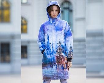 Painted Parka, Rain coat women, colorful parka, Long Coat Women, printed parka, raincoat, parka womens, Waterproof parka women