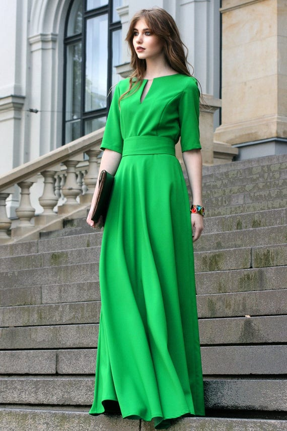 Casual Dress Maxi Dress Green Dress Hollywood Dress Trendy Etsy