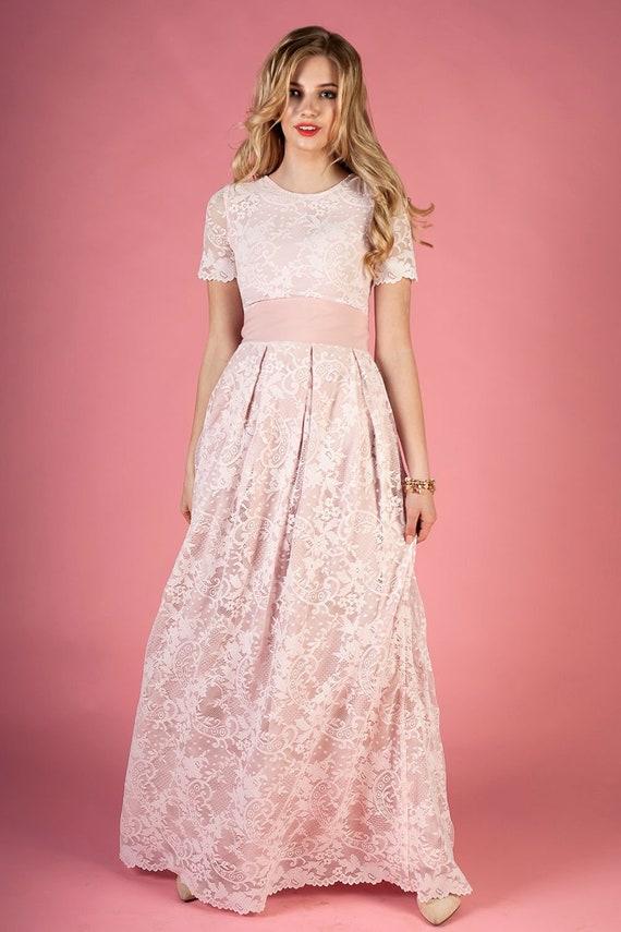 Beige Dress Waistband Dress Lace Wedding Guest Dress Summer Wedding Dress Floor Length Dress Formal Gown Dress Lace Bridal Dress
