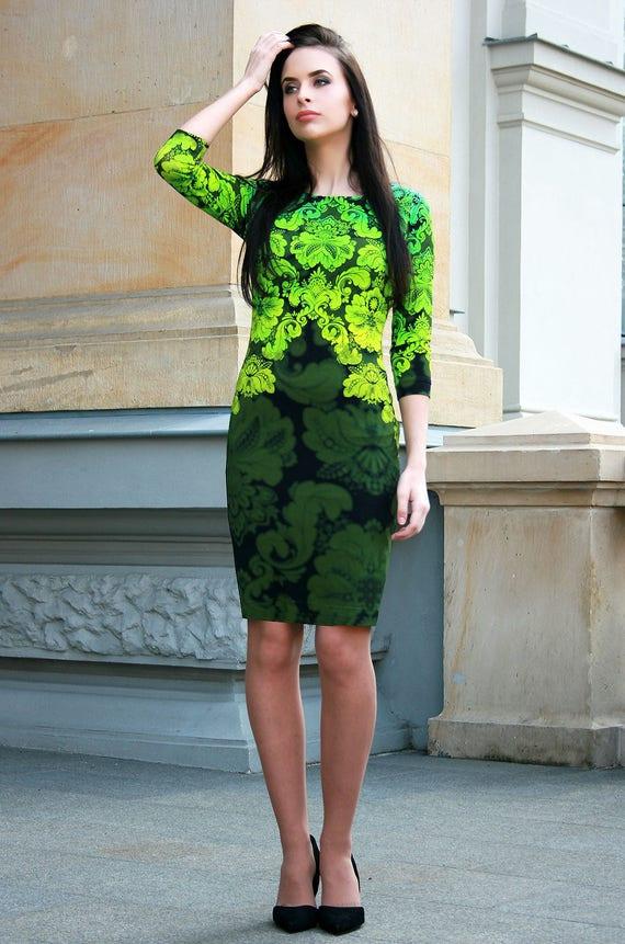 Grüne Hochzeitskleid Brautjungfernkleid lange Ärmel Kleid   Etsy dfa6f4b841