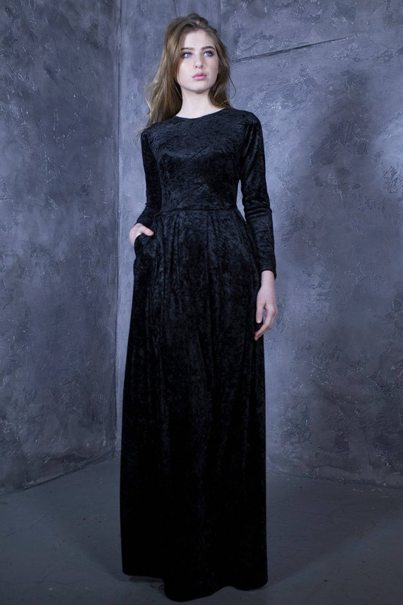 Black Dress, Velvet Dress, Long Sleeve Dress, Plus Size Clothing, Bobo Maxi  Dress, Minimalist Fashion Dress, Trendy Dress, Elegant Dress