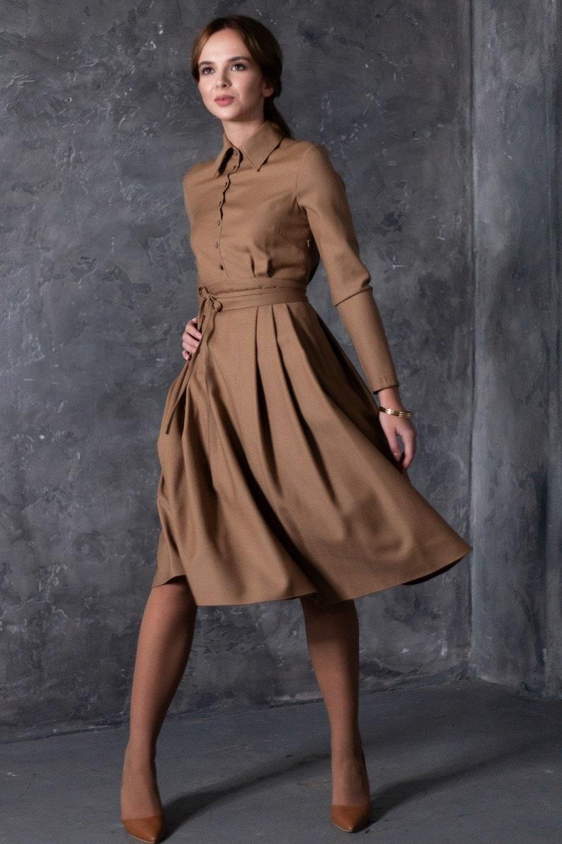 676979ec0f7 Wollkleid MIDI-Kleid Abendkleid braunes Kleid Plus Size