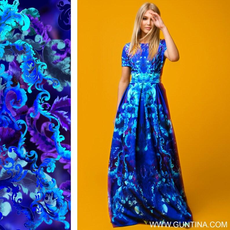 Plus Size Maxi Dress, Kaftan Dress, Blue Dress, Long Summer Dress, Short  Sleeved Dress, Bohemian Clothing, Floral Dress, Plus Size Kaftan