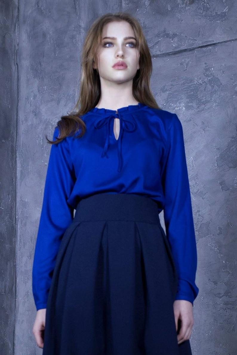Boho Blouse Ribbon Top Bohemian Clothing Fashion Blouse,Minimalist Top Women Blue Top Loose Top Long Sleeve Top Blue Blouse Maxi Top