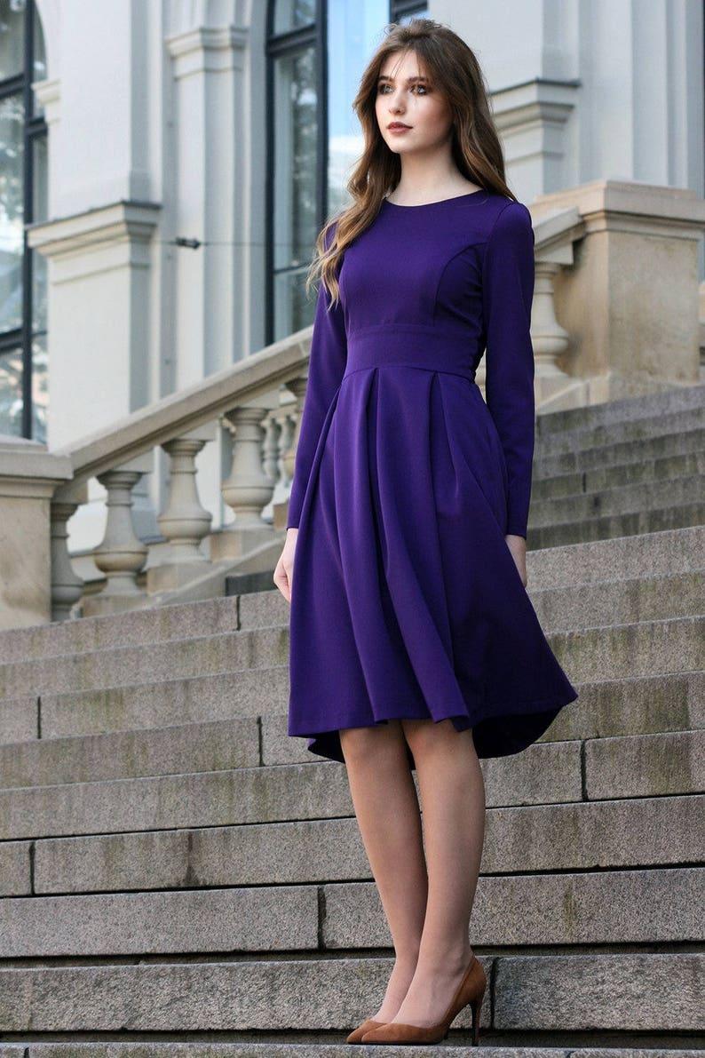Boho Clothing Cocktail Dress Long Sleeved Dress Oversized Dress Minimalist Dress Purple Dress Plus Size Dress Purple Clothing