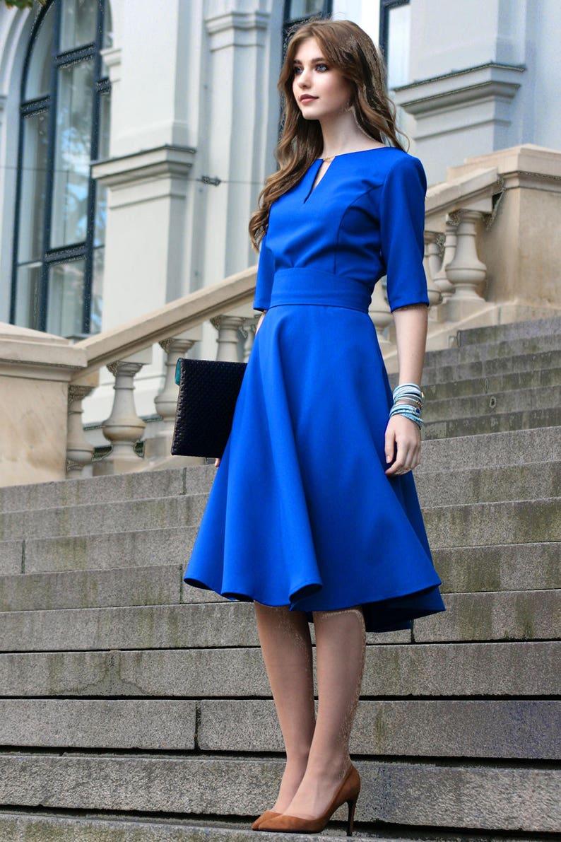 f95144b787641 Short Sleeve Knee Length Formal Dresses