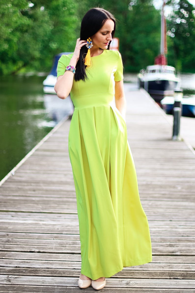 Green Summer Dress, Elegant Dress, Romantic Dress, Plus Size Clothing,  Oversized Dress, Boho Maxi Dress, Fashion Dress, Sun Dress