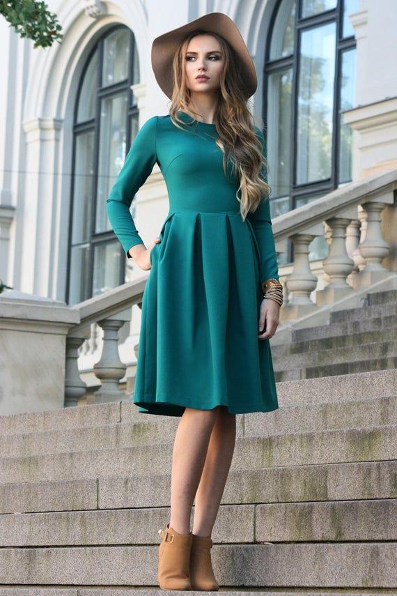 Emerald Dress, Empire Dress, Green Bridesmaid Dress, Classic Dress, Plus  Size Dress, Short Formal Dress, Long Sleeved Dress, Winter Clothing