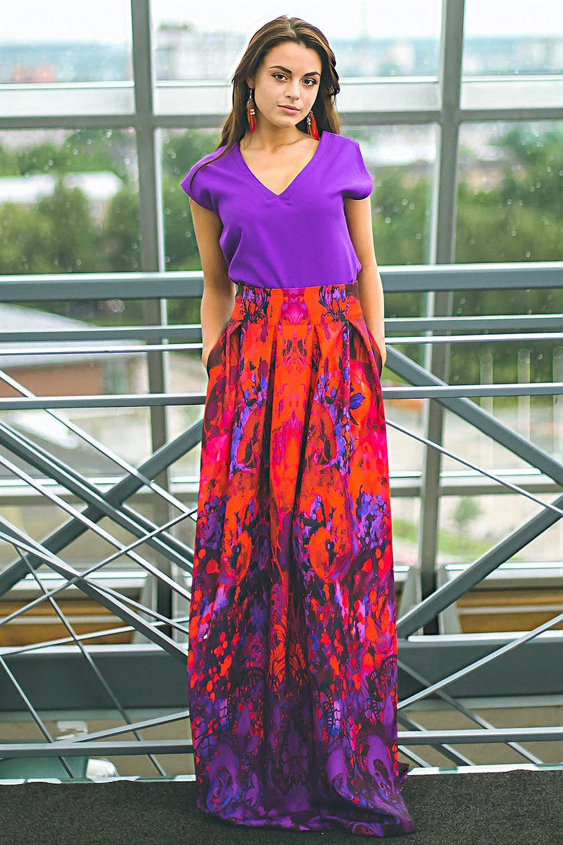 02041be5b17 Plus Size Maxi Skirt Red Purple Skirt High Waisted Skirt