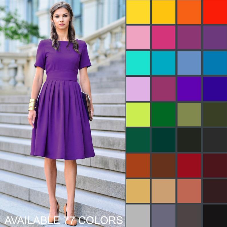 Purple Dress, Purple Clothing, Summer Dress, Knee Length Dress, Short  Sleeved Dress, Minimalist Dress, Plus Size Dress, Club Dress