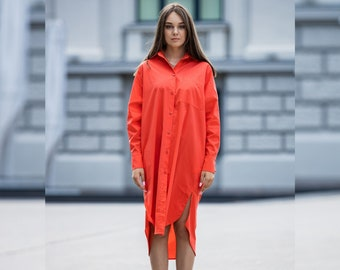Elegant Hot Coral Shirt, Oversize Shirt Dress, Plus size shirt, long sleeve shirt, Collar shirt, Blouse for women, Plus Size Clothing