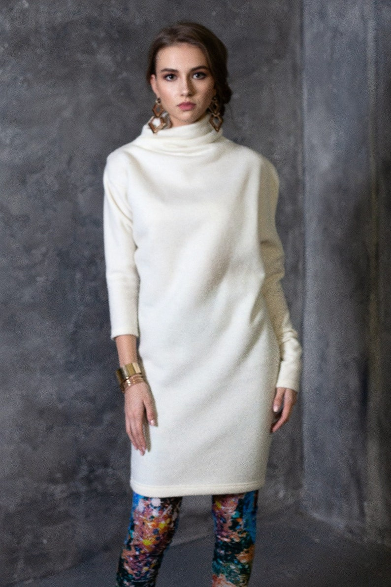 Sweater Dress Turtleneck Sweater Dress Winter Sweater Dress image 1