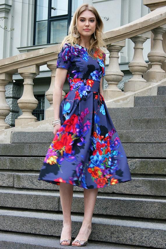 Formal Dress Floral Dress Printed Dress Knee Length Dress Etsy